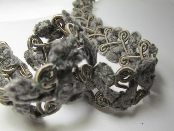 Open Weave 3/4 inch Chenille Trim-Trims-Pewter Gray-Odyssey Cache