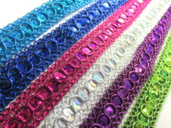 Holographic 7/8 inch wide Circle Style Sequined Trim in Green, Blue, Purple, White, Black, Fuchsia - Odyssey Cache