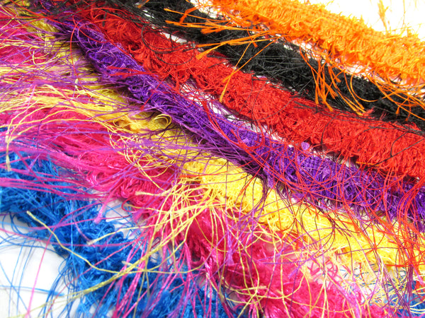 Eyelash Hairy Gimp Trim in Black, Orange, Yellow, Purple and Red - Odyssey Cache - 1