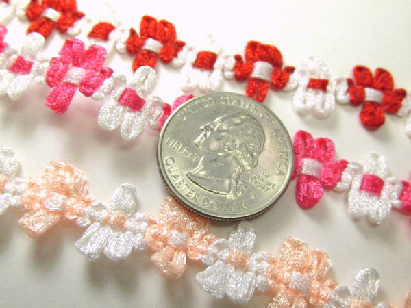 Red, Pink or Peach and White 12mm Daisy Flower Trim-Trims-Red White-Odyssey Cache