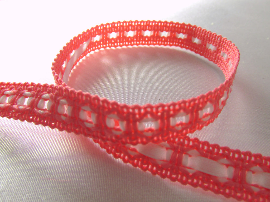 Coral and White 1/2 Inch Eyelet Gimp Trim - Odyssey Cache