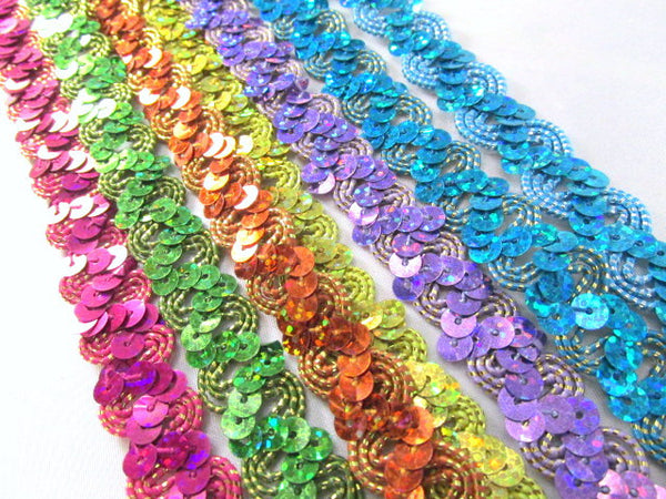 Metallic Thread Accent 5/8 Inch Zig Zag Holographic Sequined Trim - Odyssey Cache
