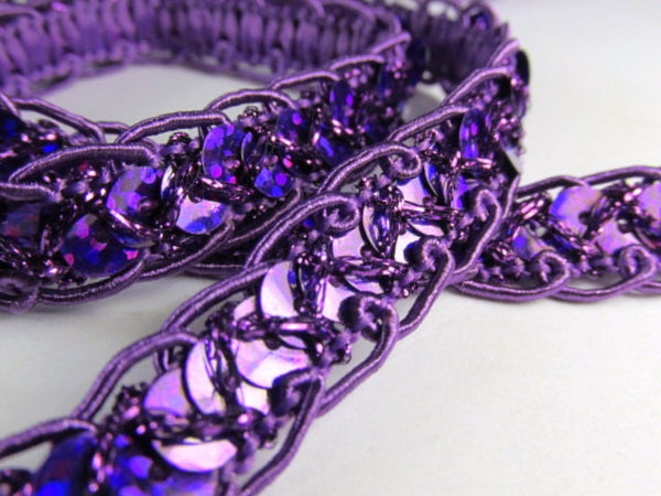 Sparkly 1/2 Inch Scalloped Edge Holographic Sequined Trim-Trims-Purple-Odyssey Cache