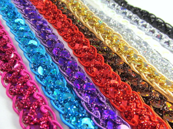 Sparkly 1/2 Inch Scalloped Edge Holographic Sequined Trim-Trims-Black-Odyssey Cache