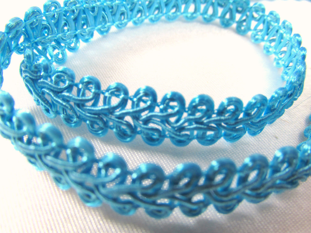 3/8 inch Light Weight Flat Scroll Braided Gimp Trim-Trims-Turquoise-Odyssey Cache