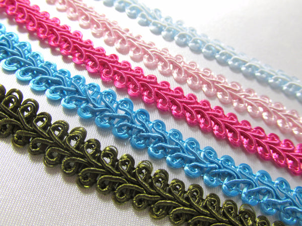 3/8 inch Light Weight Flat Scroll Braided Gimp Trim - Odyssey Cache