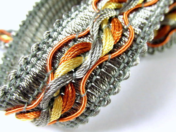 Tri-Color Slate Gray Rust and Gold 1.25 inch Fancy Braided Decorator Gimp Trim - Odyssey Cache - 1