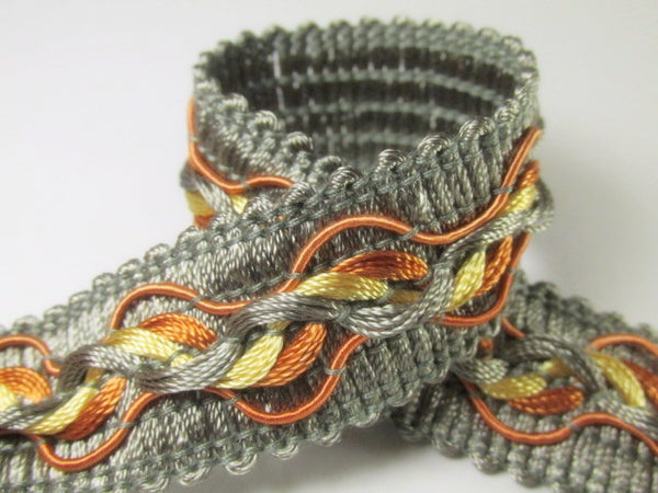 Tri-Color Slate Gray Rust and Gold 1.25 inch Fancy Braided Decorator Gimp Trim - Odyssey Cache - 2