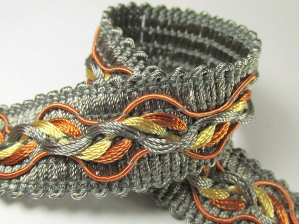 Tri-Color Slate Gray Rust and Gold 1.25 inch Fancy Braided Decorator Gimp Trim - Odyssey Cache - 3