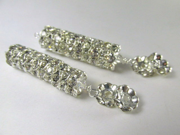 Wavy 12mm or 10mm Silver Metal and Clear Crystal Rondelle Spacer Beads-Jewelry Beads-Odyssey Cache