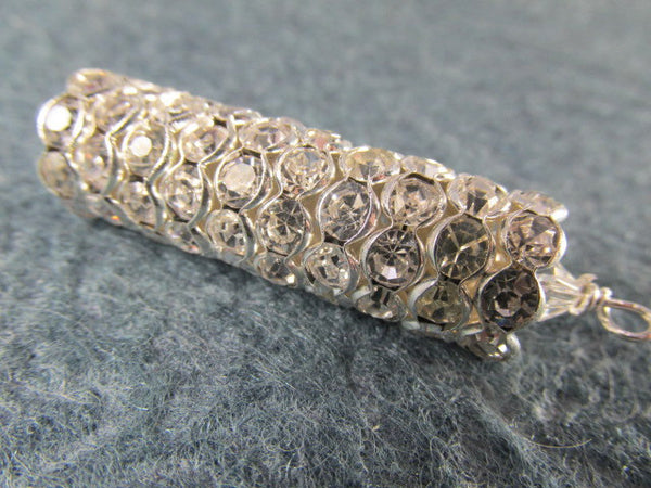 Wavy 12mm or 10mm Silver Metal and Clear Crystal Rondelle Spacer Beads-Jewelry Beads-10mm rondelles-Odyssey Cache