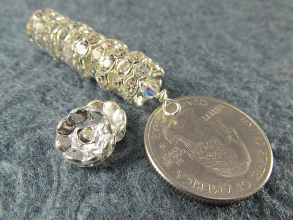 Wavy 12mm or 10mm Silver Metal and Clear Crystal Rondelle Spacer Beads-Jewelry Beads-12mm rondelles-Odyssey Cache