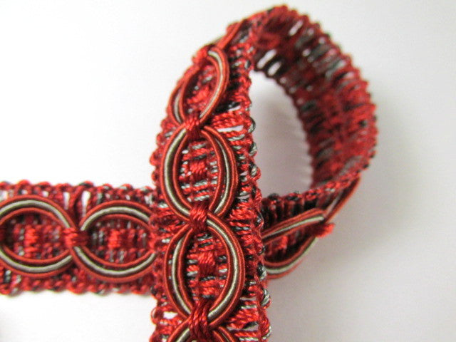Dark Red and Gray Circle Patterned 3/4 inch Fancy Braided Home Decorator Gimp Trim-Trims-Odyssey Cache