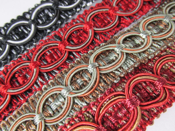 Circle Patterned 3/4 inch Fancy Braided Home Decorator Gimp Trim in 9 Colors - Odyssey Cache - 3