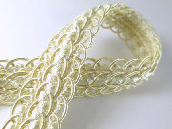 Double Scalloped Border Ivory Beige 20mm Fancy Braided Decorator Gimp Trim - Odyssey Cache