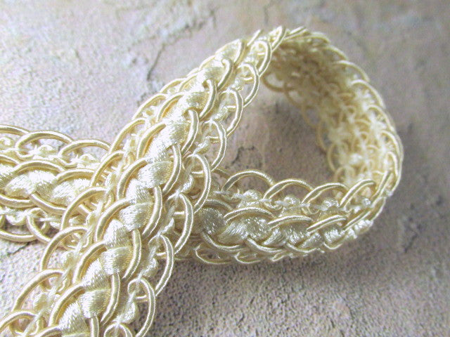 Double Scalloped Border Ivory Beige 20mm Fancy Braided Decorator Gimp Trim-Trims-Odyssey Cache