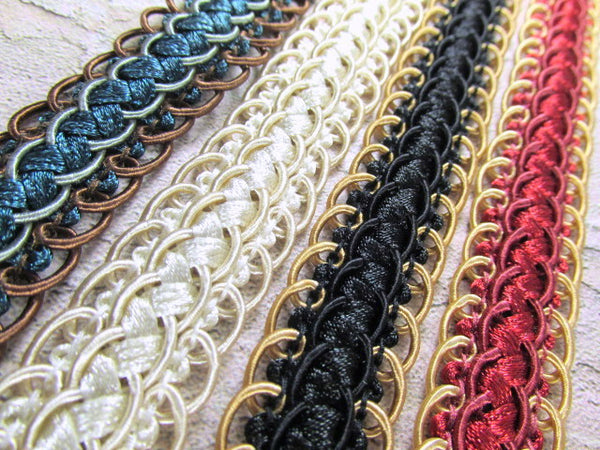 Double Scalloped Braided Gimp Trim in Teal Aqua Brown, Ivory, Black Gold, and Red Gold-Trims-Odyssey Cache