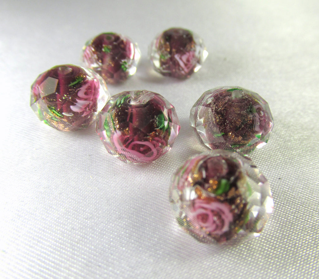 Brown Raspberry Rose 12mm Faceted Lampwork Glass Rondelles (6)-Jewelry Beads-Odyssey Cache