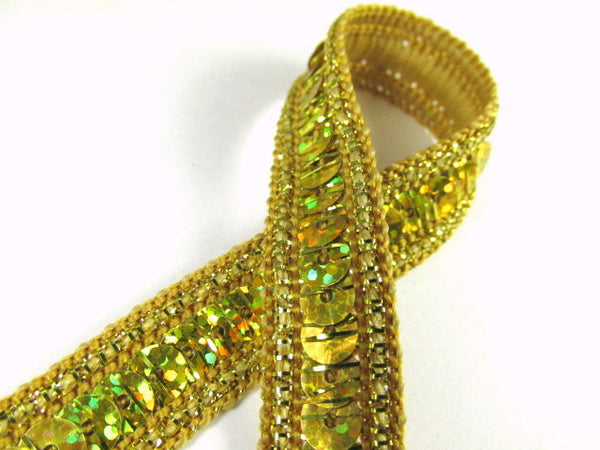 Holographic 1/2 Inch Sequined Trim with AB Thread Edge in 12 colors-Trims-Gold-Odyssey Cache