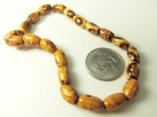 Sale - Tribal 8mm x 12mm Oval Wooden Beads with 3mm Holes (21)-Jewelry Beads-Odyssey Cache