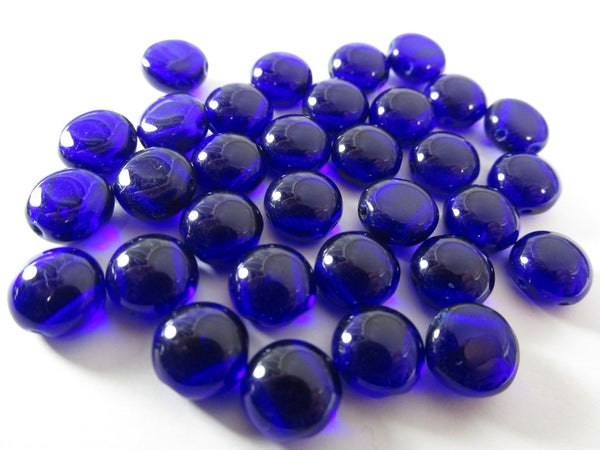 Cobalt Blue 2 Hole 8mm Cabochon Candy Beads (25)-Jewelry Beads-Odyssey Cache