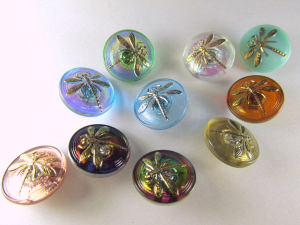 Dragonfly Czech Glass 18mm Button in Purple, Blue, Fucshia - Odyssey Cache