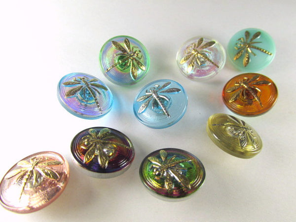 Dragonfly Czech Glass 18mm Button in Serenty Aqua Blue and Silver - Odyssey Cache