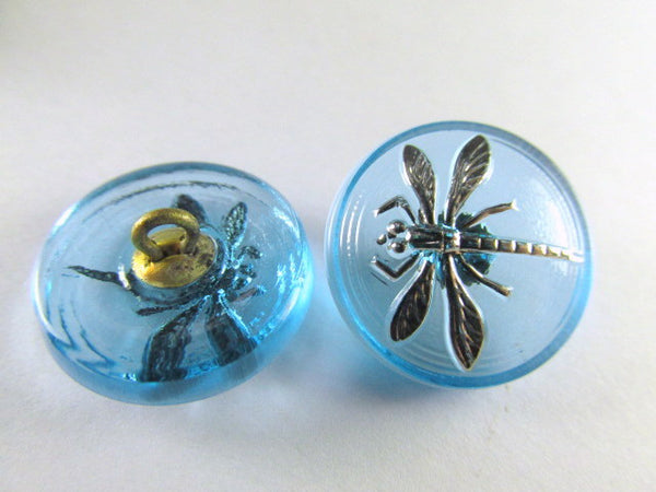 Dragonfly Czech Glass 18mm Button in Serenty Aqua Blue and Silver-Jewelry Beads-Odyssey Cache