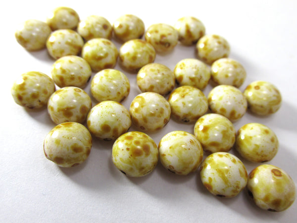 Alabaster Marble 2 Hole 8mm Cabochon Candy Beads (25)-Jewelry Beads-Odyssey Cache