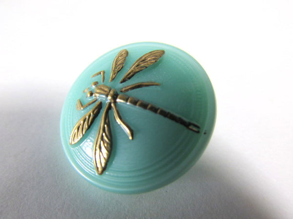 Aqua Mint Green and Gold 18mm Czech Glass Dragonfly Button - Odyssey Cache