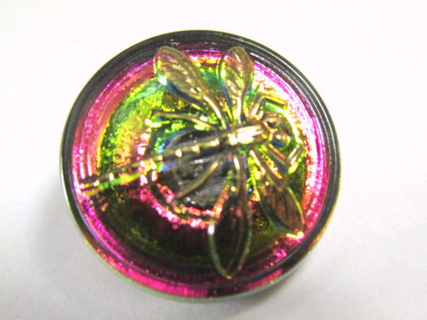 Vitrail Medium and Gold 18mm Czech Glass Dragonfly Button - Odyssey Cache