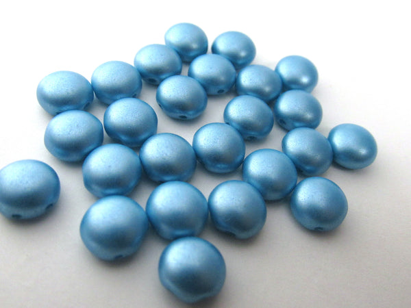 Light Blue Turquoise Pastel Pearl 2 Hole 8mm Cabochon Candy Beads (20) - Odyssey Cache - 1