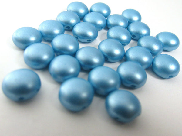 Light Blue Turquoise Pastel Pearl 2 Hole 8mm Cabochon Candy Beads (20) - Odyssey Cache - 2