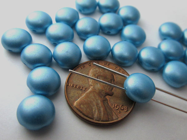 Light Blue Turquoise Pastel Pearl 2 Hole 8mm Cabochon Candy Beads (20) - Odyssey Cache - 4
