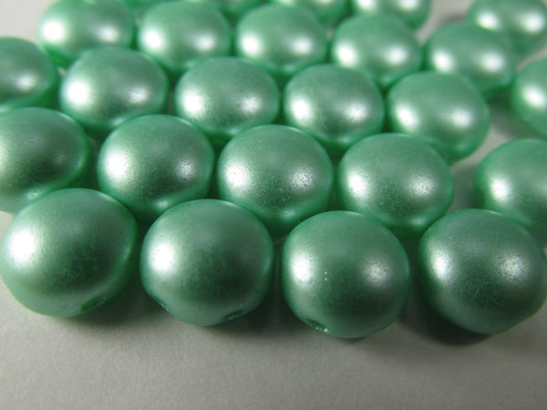 Seafoam Mint Green Pastel Pearl 2 Hole 8mm Cabochon Candy Beads (20) - Odyssey Cache