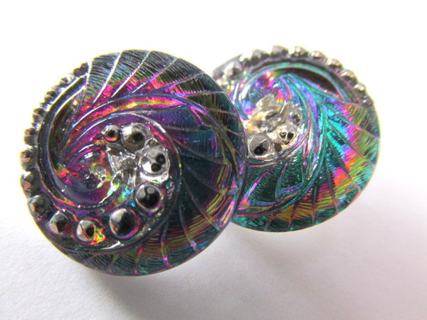 Peacock Indian Swirl Czech Glass 18mm Button - Odyssey Cache
