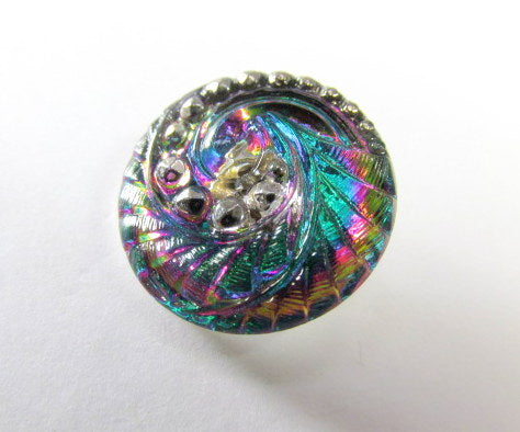 Peacock Indian Swirl Czech Glass 27mm Button - Odyssey Cache