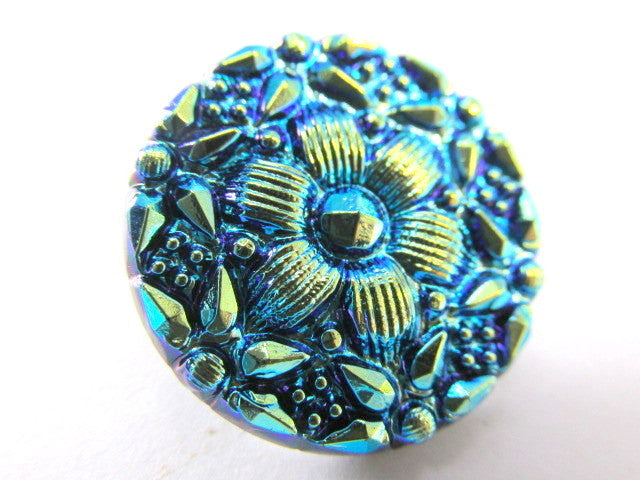 Turquoise and Green Czech Glass 22mm Button - Odyssey Cache