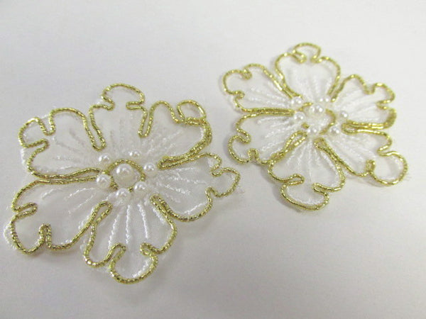 White and Gold Pearl Flower Bridal 2 Inch Appliques-Appliques-Default Title-Odyssey Cache