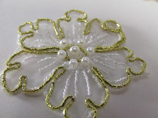 White and Gold Pearl Flower Bridal 2 Inch Appliques-Appliques-Odyssey Cache