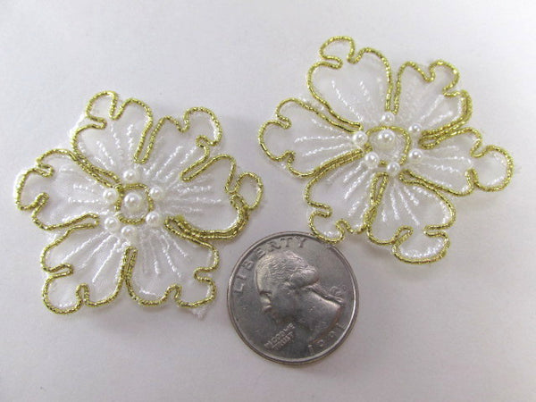White and Gold Pearl Flower Bridal 2 Inch Appliques - Odyssey Cache
