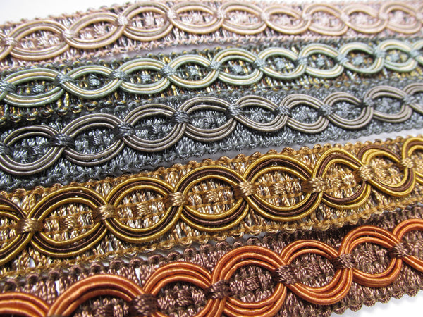 Circle Patterned 3/4 inch Fancy Braided Home Decorator Gimp Trim in 9 Colors - Odyssey Cache - 11