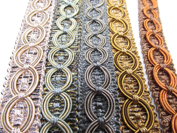 Circle Patterned 3/4 inch Seafoam Gray Golden Brown Fancy Braided Home Decorator Gimp Trim - Odyssey Cache
