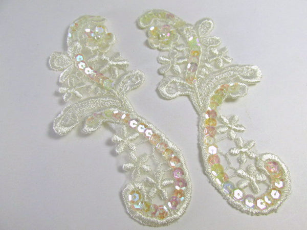 Ivory Bridal Sequined 4.5 x 2 inch Appliques (2) - Odyssey Cache