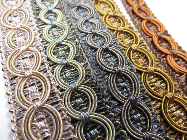 Circle Patterned 3/4 inch Fancy Braided Home Decorator Gimp Trim in 9 Colors - Odyssey Cache - 1