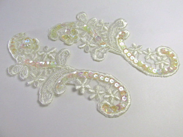 Ivory Bridal Sequined 4.5 x 2 inch Appliques (2)-Appliques-Odyssey Cache