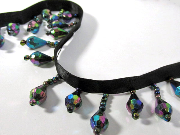 PRECUT Pieces Night Lights Peacock Black AB Alternating 1 inch Short Beaded Fringe Trim - Odyssey Cache