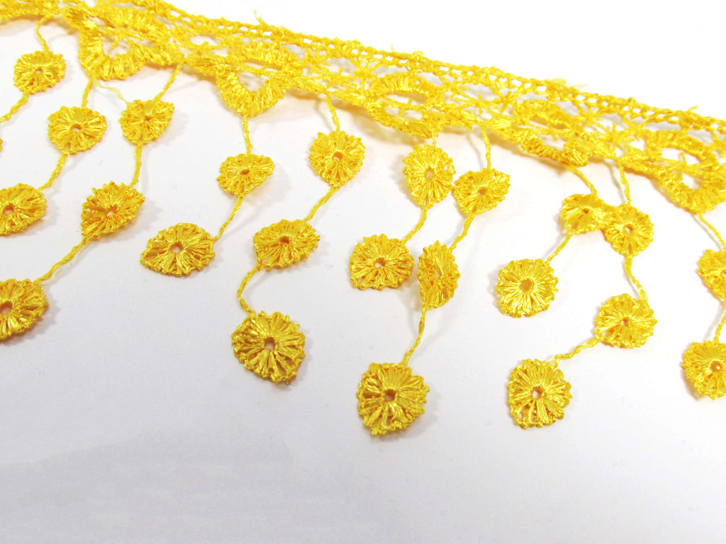 Sunflower Gold 3.5 inch Fringed Venise Lace Trim-Trims-Odyssey Cache