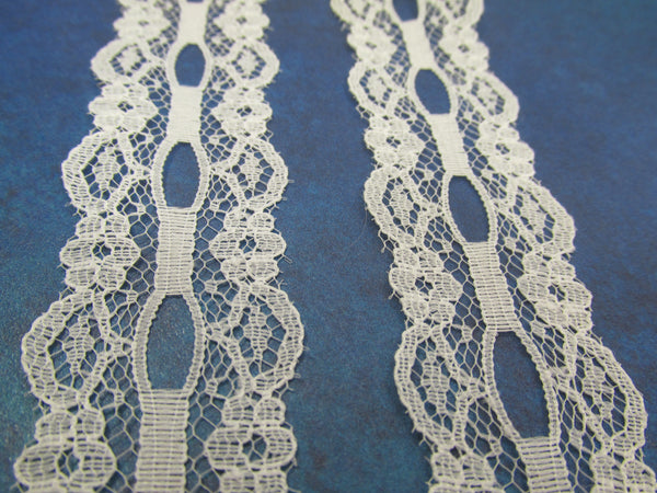 Off White 2 1/4 Inch Lace Trim with Ribbon Insert - Odyssey Cache