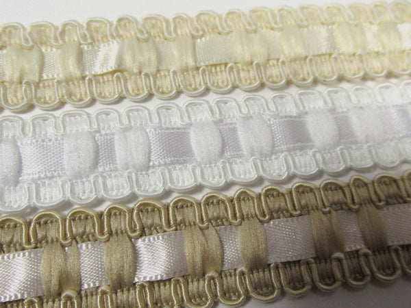 Lace and Satin Ribbon Insert 18mm Wide Braided Trim in White, Ivory or Beige-Trims-Odyssey Cache